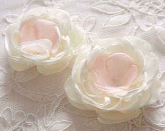 2 Handmade Singed Flower Fabric Flower Fabric Rose  (2-3/4 inches) In Cream and Lt Pink  MY-627 Ready To Ship