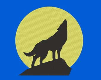 Moon Wolf Embroidery Machine Design