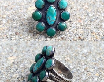 vintage old pawn Native American sterling silver turquoise southwestern ring size 4