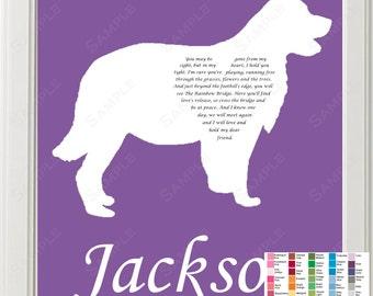 Rainbow Bridge Pet Memorial, Rainbow Bridge Poem, Golden Retriever Memorial, Pet Memorial Gift, Dog Memorial 8 X 10 Print