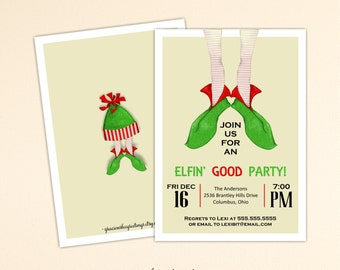 Christmas Party Invitation, Holiday Party, Cocktail Party, Open House, Holiday Birthday Party, C10155