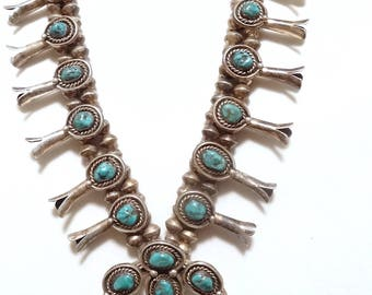 Native American Turquoise Squash Blossom Necklace - Turquoise Jewelry - Navajo Squash Blossom - NA Necklace - Vintage Jewelry
