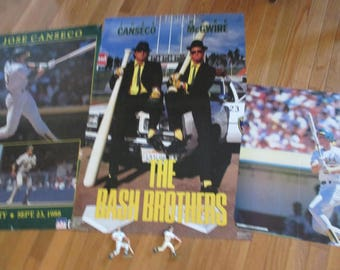SALE  lot of 5 Vintage Bash Brothers Jose Conseco Mark McGwire posters and  Starting Lineup action figure baseball greats Oakland A's