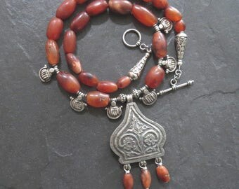 Antique Carnelian Beads with Antique India Silver Pendant