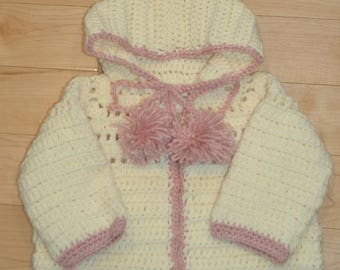 12-18 month old handmade crochet baby jacket