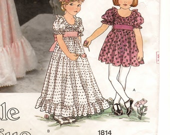 "A Fancy, Fit & Flare, Ruffled Collar Dress Sewing Pattern with Sleeve and Length Variations: Children's Size 3, Breast 22"" • Vogue 1814"