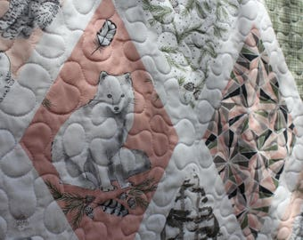 Pink and Green Arctic Fox Quilt // Gift for Toddler // Gift for Baby // Baby Girl // Baby Quilt // Wholecloth Quilt
