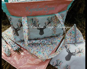 Girls Diaper Bag * Changing Pad *PaciPod* Pouch* 6pc set BOHO Rustic Modern.