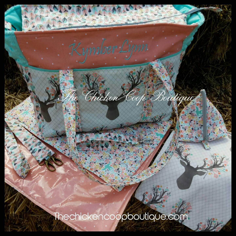 girls diaper bag changing pad pacipod pouch 6pc set boho. Black Bedroom Furniture Sets. Home Design Ideas