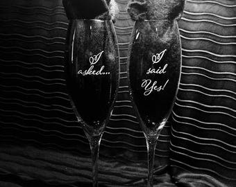 Wedding champagne glasses, engagement champagne glasses, engagement flutes, wedding flutes