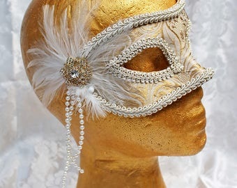 Pale Gold Masquerade Mask, MADE TO ORDER Light Gold Champagne Paisley Metallic Brocade Masquerade Mask