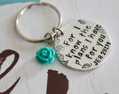 """For I Know the Plans~Aluminum LIGHT WEIGHT~ Small 1.125"""" Key Chain with Rose"""