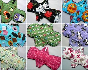 Set of 3 Cloth Menstrual Pad, Build your STASH, light, regular, heavy, cotton top, fleece back, random prints