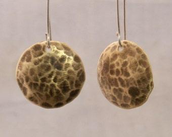Brass Shield Hammered Earrings