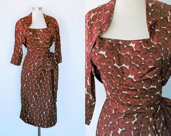 1950s Halter Dress / Vintage 50s Brown and White Floral Satin-y Halter Dress w/ Cropped Bolero Jacket / Sarong Dress / Hawaiian Style - S