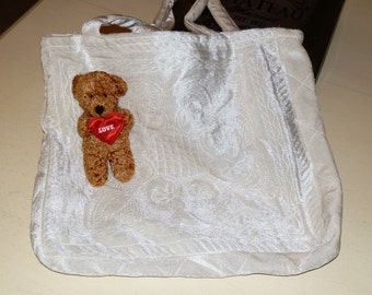 Vintage White/Ecru Quilted Shopping Tote or Books Carrier for School or a Knitting Bag Early 1990s from HistoryHouse Antiques Gift for Her