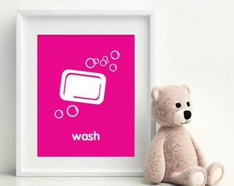 WASH Art Print - bathroom art - kids bathroom decor - bathroom rules