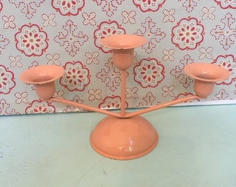 Vintage Pink Candelabra Candle Hotel - Metal Three Candle Holder - Retro Mid-Century Modern Candle Holder