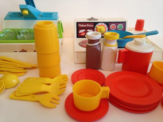 Play Kitchen Dishes vintage fisher price kitchen set with sink stove and dishes