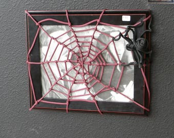 purple web over wood frame with Glass *photo can be added*