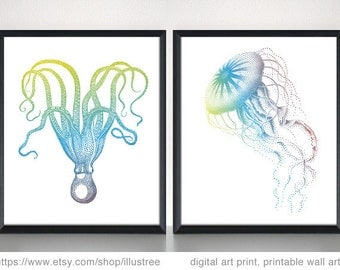 Jellyfish and octopus, digital art print set, printable wall art, 5x7, 8x10, 11x14, 16x20, illustration, nautical home decor, download