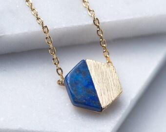 Blue Lapis Necklace, Hexagon Necklace, Gold Pendant necklace, Gold Necklace, Lapis Hexagon Necklace, Minimal Necklace, hexagon pendant N346