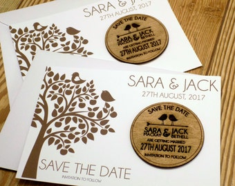Round wooden save the date magnet and card