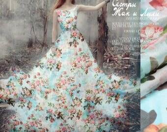 30% OFF, 3m Silk Chiffon Fabric with Light Green Pink Flower Floral Silk Chiffon Fabric