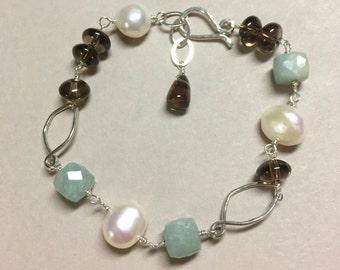 Aquamarine and Baroque Pearl Bracelet