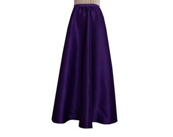 Long Satin Skirt Deep Purple Bridesmaid Maxi Formal Skirt