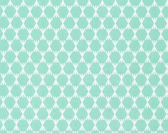 Foxglove Collection - Cloud 9 Organic Cotton -Stem Dot Turquoise - Fabric by the Yard