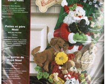 Bucilla Dogs Felt Stocking Kit - Christmas Holiday Decor, DIY Felt Stocking Kit - Santa Paws You Complete