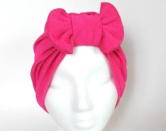 Fuchsia Bow Turban, Front Bow Turban, Removable Bow Turban, Removable Bow Hat, Womans Bow Hat, Womens Bow Turban, Pink Bow Hat, Beach Hat