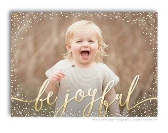 Christian Religious Themed Christmas Card Photoshop Template With Bible Quote For Photographers - BE JOYFUL - 1592