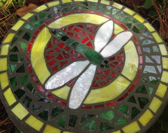 "Dragonfly In Flight Brilliant Bold Stepping Stone- Handmade Mosaic Stained Glass - 14"" Round - Avail in larger or smaller sizes"