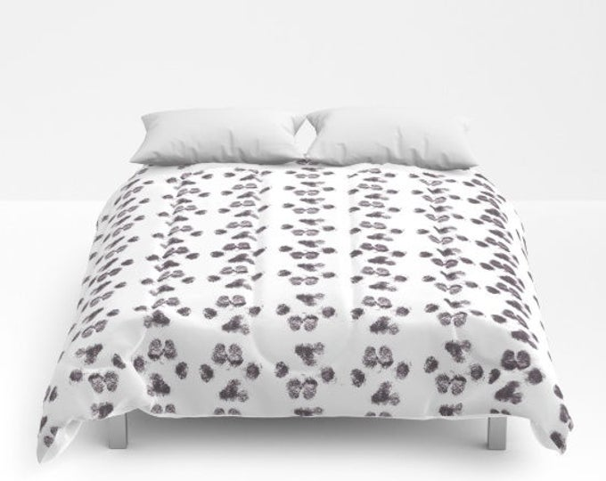 Comforter - Puppy Paw Prints - Bed Cover - Bedding - King - Queen - Full - Made to Order