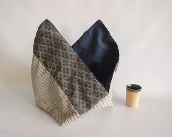 Lunch bag, Bento bag, Azuma bag, Bukuro bag, Japanese lunch bag - Navy and beige - Small