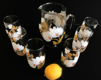 Vintage Glass Pitcher Set with Six Handpainted Drinking Glasses White Flowers Yellow Ochre Leaves Vintage Kitchen Ice Tea Set Summer