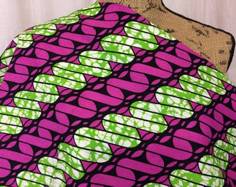 African Wax Print Fabric--Ankara Fabric--Mitex Holland Wax Print Fabric--Purple and Lime Green Coils--African Fabric by the HALF YARD