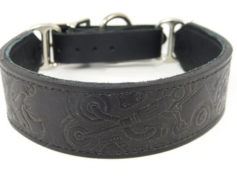 Stamped Steampunk Adjustable leather martingale collar