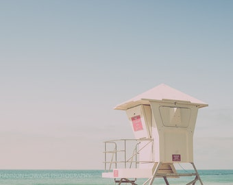 Beach Photography Laguna Beach Lifeguard Tower Retro Surf Serene Pretty Decor LA Southern California Wall Art Turquoise Blue Aqua Vintage