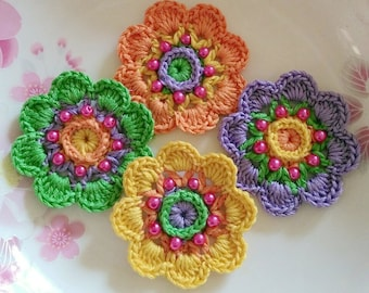 4 Crochet  Flowers In 2 inches  Applies YH - 231
