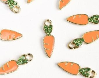 Carrot Charms, Orange Enamel with Green Rhinestones - 5 pieces (117GO)