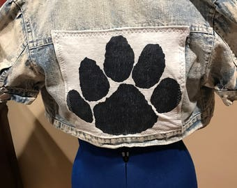 Upcycled Penn State short sleeve denim jacket size Small