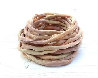 Silk Cord hand dyed 3 meters beige brown silk string 4mm