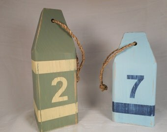 Two wooden lobster buoys / beach decor / nautical decor