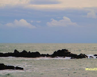 Quoddy Head Surf, Maine Photography,  Nautical Decor, Eastern most Point in US, Ocean Print, Rocky Coast Photo