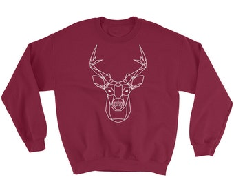 Unisex Bohemian Geometric Deer Totem Pullover - 3 colors - Boho Spirit Animal Cotton Sweater   Indigo   Maroon   Navy