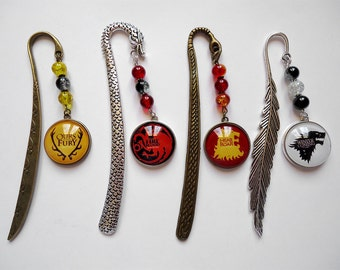 Game of Thrones - A Song of Ice and Fire House Sigil Bookmark. Stark Baratheon Lannister Tagaryen Gift Book
