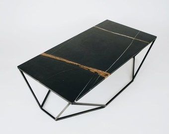 Modern Large Coffee Table in Black Marble and Blackened Steel